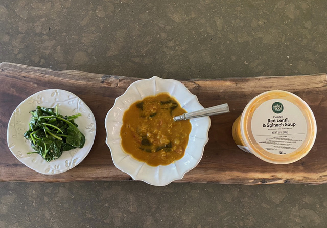 Jayme's Red Lentil & Spinach Soup